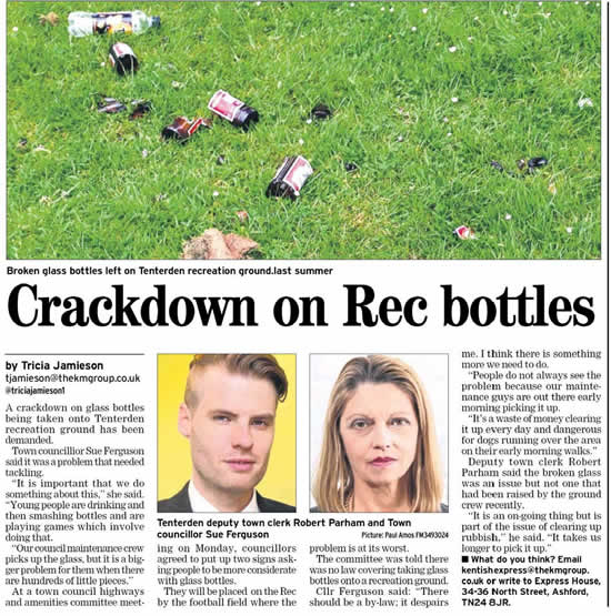 Glass bottles on the Recreation Ground
