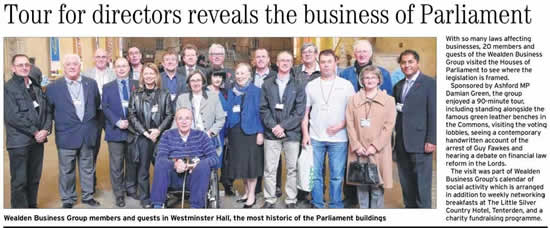Wealden Business Group goes to the Houses of Parliament