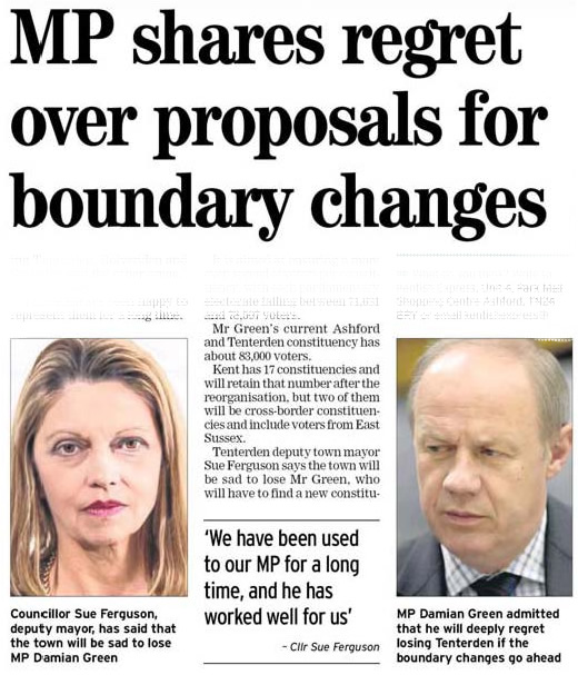 Boundary Changes sad to lose Damian Green